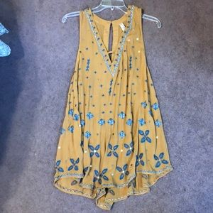 Free people mustard embellished romper small